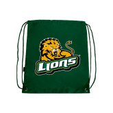 Dark Green Drawstring Backpack-Lions w/Lion