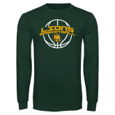 Dark Green Long Sleeve T Shirt-Lions Basketball w/ Ball