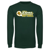 Dark Green Long Sleeve T Shirt-Lions Softball Script w/ Ball
