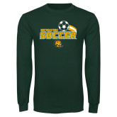 Dark Green Long Sleeve T Shirt-Southeastern Soccer Swoosh w/ Ball