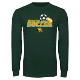 Dark Green Long Sleeve T Shirt-Southeastern Soccer Swoosh w/ Ball