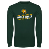 Dark Green Long Sleeve T Shirt-Volleyball Can You Dig It