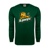 Dark Green Long Sleeve T Shirt-Lions w/Lion