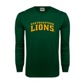 Dark Green Long Sleeve T Shirt-Arched Southeastern Lions