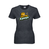 Ladies Dark Heather T Shirt-Lions w/Lion