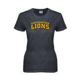 Ladies Dark Heather T Shirt-Arched Southeastern Lions