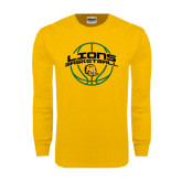 Gold Long Sleeve T Shirt-Lions Basketball w/ Ball