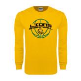 Gold Long Sleeve T Shirt-Lions Basketball w/ Ball