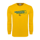 Gold Long Sleeve T Shirt-Southeastern Baseball w/ Ball