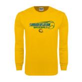 Gold Long Sleeve T Shirt-Southeastern Baseball w/ Ball