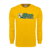 Gold Long Sleeve T Shirt-Lions Softball Script w/ Ball