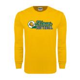 Gold Long Sleeve T Shirt-Lions Softball Script w/ Ball