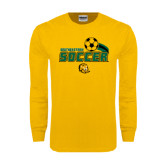 Gold Long Sleeve T Shirt-Southeastern Soccer Swoosh w/ Ball