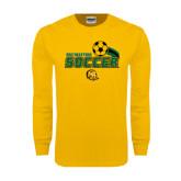 Gold Long Sleeve T Shirt-Southeastern Soccer Swoosh w/ Ball