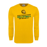Gold Long Sleeve T Shirt-Volleyball Can You Dig It