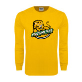 Gold Long Sleeve T Shirt-Official Logo Distressed