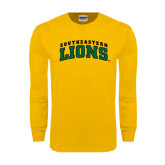 Gold Long Sleeve T Shirt-Arched Southeastern Lions