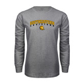 Grey Long Sleeve T Shirt-Arched Southeastern Louisiana