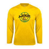 Syntrel Performance Gold Longsleeve Shirt-Lions Basketball w/ Ball