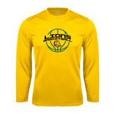 Performance Gold Longsleeve Shirt-Lions Basketball w/ Ball