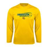 Performance Gold Longsleeve Shirt-Southeastern Baseball w/ Ball