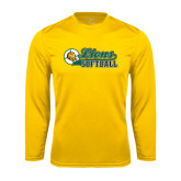 Syntrel Performance Gold Longsleeve Shirt-Lions Softball Script w/ Ball