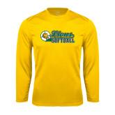 Performance Gold Longsleeve Shirt-Lions Softball Script w/ Ball
