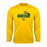 Performance Gold Longsleeve Shirt-Southeastern Soccer Swoosh w/ Ball