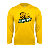 Performance Gold Longsleeve Shirt-Lions w/Lion