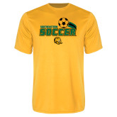 Performance Gold Tee-Southeastern Soccer Swoosh w/ Ball