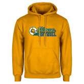 Gold Fleece Hoodie-Lions Softball Script w/ Ball