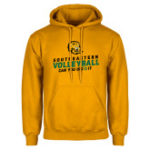 Gold Fleece Hoodie-Volleyball Can You Dig It