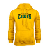 Gold Fleece Hoodie-Arched Southeastern Lions