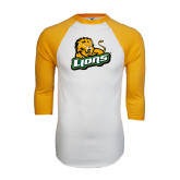 White/Gold Raglan Baseball T-Shirt-Lions w/Lion