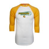White/Gold Raglan Baseball T-Shirt-Southeastern Baseball w/ Ball
