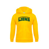Youth Gold Fleece Hoodie-Arched Southeastern Lions