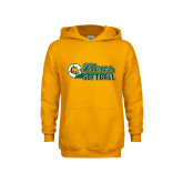 Youth Gold Fleece Hoodie-Lions Softball Script w/ Ball