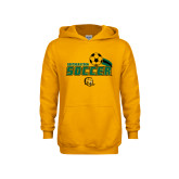 Youth Gold Fleece Hoodie-Southeastern Soccer Swoosh w/ Ball
