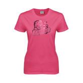 Ladies Fuchsia T Shirt-Lions w/Lion