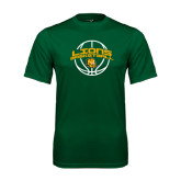 Performance Dark Green Tee-Lions Basketball w/ Ball