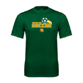 Performance Dark Green Tee-Southeastern Soccer Swoosh w/ Ball