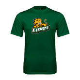 Performance Dark Green Tee-Lions w/Lion
