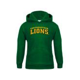 Youth Dark Green Fleece Hoodie-Arched Southeastern Lions