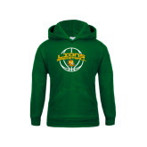 Youth Dark Green Fleece Hoodie-Lions Basketball w/ Ball