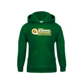 Youth Dark Green Fleece Hoodie-Lions Softball Script w/ Ball