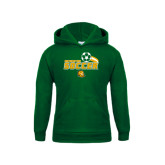 Youth Dark Green Fleece Hoodie-Southeastern Soccer Swoosh w/ Ball
