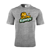 Performance Grey Heather Contender Tee-Lions w/Lion