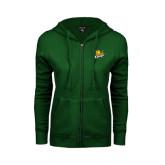 ENZA Ladies Dark Green Fleece Full Zip Hoodie-Lions w/Lion