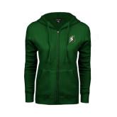 ENZA Ladies Dark Green Fleece Full Zip Hoodie-S