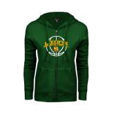 ENZA Ladies Dark Green Fleece Full Zip Hoodie-Lions Basketball w/ Ball
